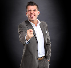 Businessman show popular gesture - fig