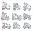 doodle motorcycle icons