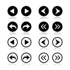 Previous, next arrows round icons set
