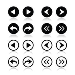 Previous, next arrows round icons set