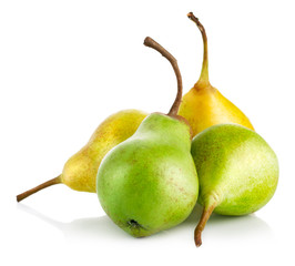 fresh green and yellow pears isolated on white background
