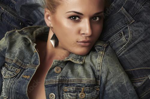fashion beautiful girl. denim jeans wear. beauty woman. blonde