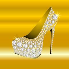 golden HIGH HEELS DIAMONDS