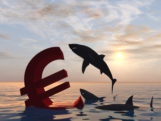 Conceptual crisis euro in water at sunset