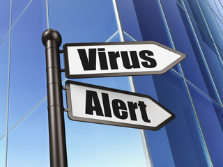 Security concept: Virus Alert on Building background