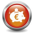Euro piggy bank icon