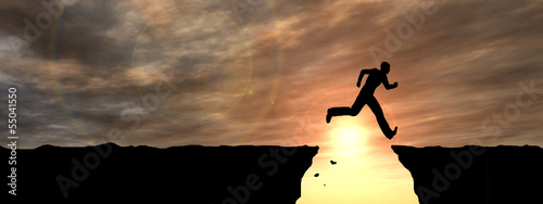 Human man silhouette jumping at sunset banner