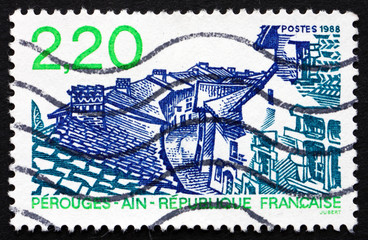 Postage stamp France 1988 View of Perouges, Ain