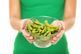 Soy beans - healthy food woman