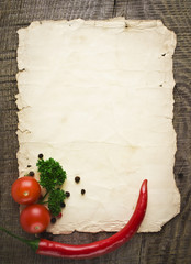 old paper sheet and vegetables for a menu or recipe