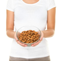 Almonds - woman showing raw almond bowl