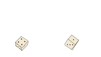 sketch of two brown rolling dice (FULL HD)