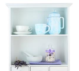 Still life with jar of lavender sugar, mortar and fresh