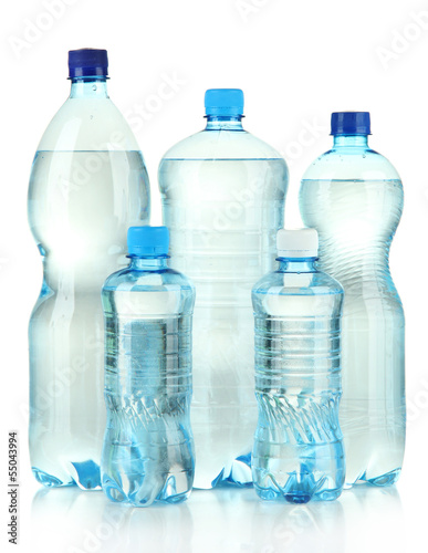 Bottles of water, isolated on white
