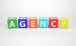 Agency out of multicolored Letter Dices