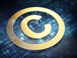 Law concept: Golden Copyright on digital background
