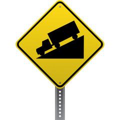 Steep downgrade sign