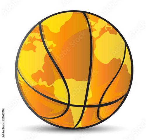 basketball world map ball illustration