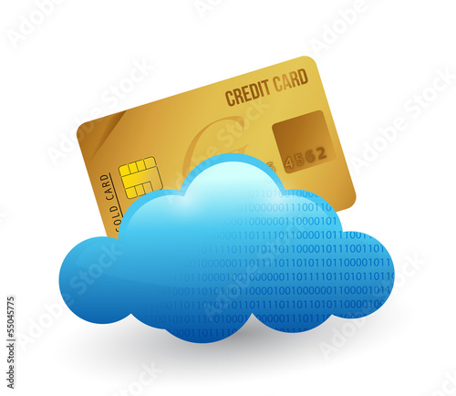 credit card and cloud. illustration design