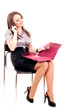 Young Businesswoman with telephone on chair