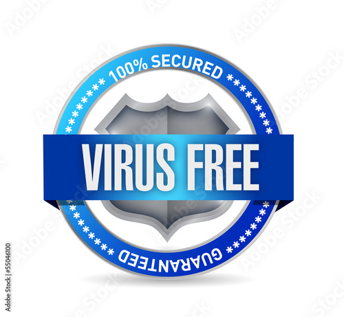 virus free seal or shield illustration design