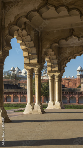 Agra Fort with view on the mosque