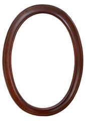 dark brown oval wooden picture frame