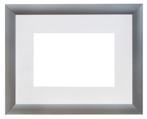 modern wide silver picture frame with grey mat