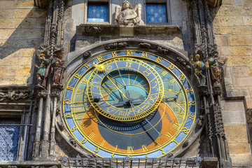 The famous Astronomical Clock (Orloj) in the Old Town of Prague