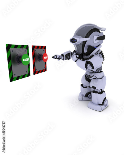 Robot deciding which button to push