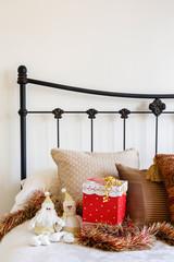 Christmas bedroom copyspace