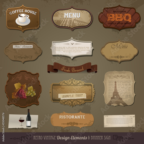 Vintage And Retro Design Elements, old papers, labels eps 10