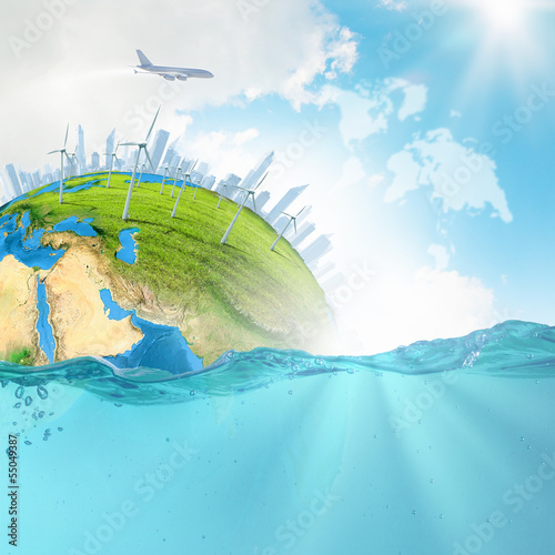 Earth planet in water
