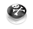 Black button with skull sign
