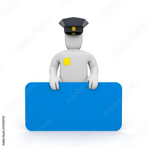 Policeman with billboard. Add you text