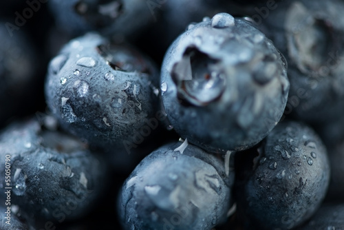 Macro shot of blueberries covered with dew drops © Nickola_Che