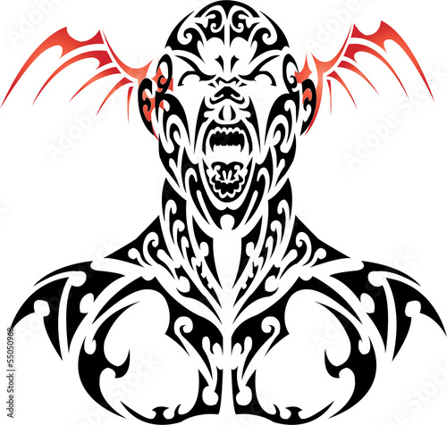 vector tattoo daemon face with red wing