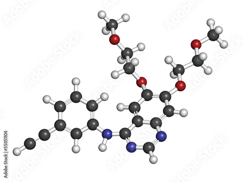 Erlotinib cancer drug, chemical structure.