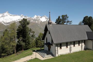 Chapel at Riffelalp and Obelgabelhorn in Swiss Alps