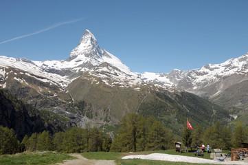 View from Riffelalp of the Matterhorn in Swiss Alps