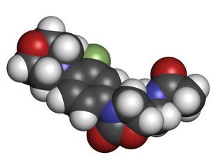 Linezolid antibiotic drug (oxazolidinone class).