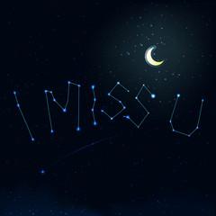 i miss u on night sky