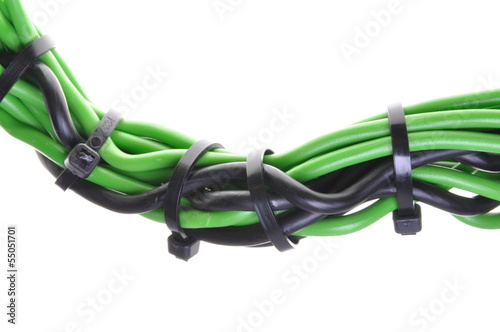 Black and green power supply wires