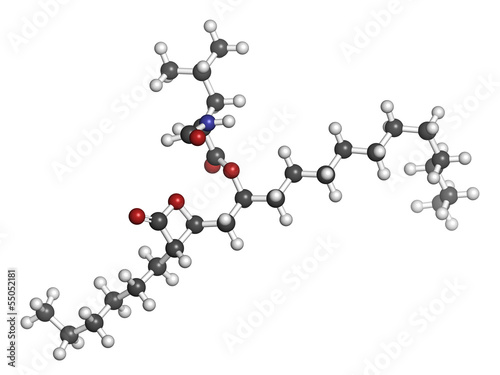 Orlistat obesity drug, chemical structure.