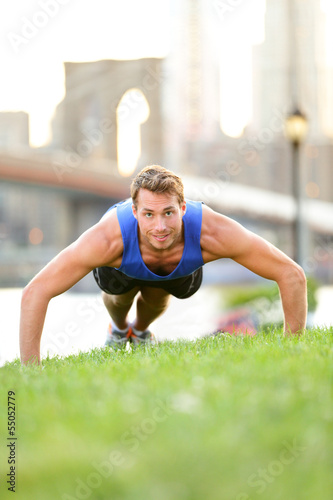 Push-ups - man training in New York City, Brooklyn