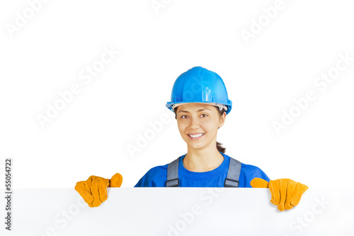 worker with blank board