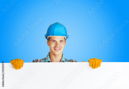 worker with blank board