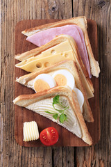 Ham, cheese and egg sandwiches