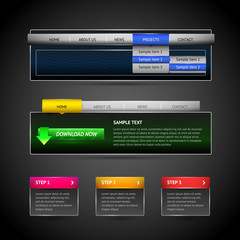 Modern web elements for dark background