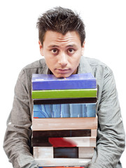 Boy Resting Chin in Stack on Books